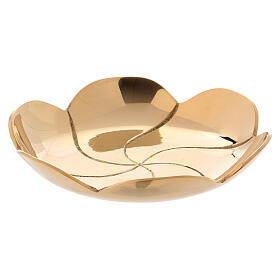 Gold plated brass plate lotus flower diam. 3 3/4 in s1