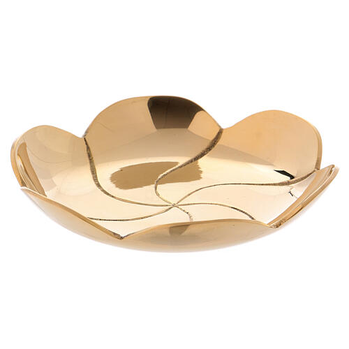 Gold plated brass plate lotus flower diam. 3 3/4 in 1