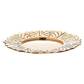 Assiette laiton doré fleur décorations feuille diam. 10 cm s1