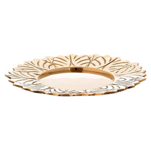 Assiette laiton doré fleur décorations feuille diam. 10 cm 1