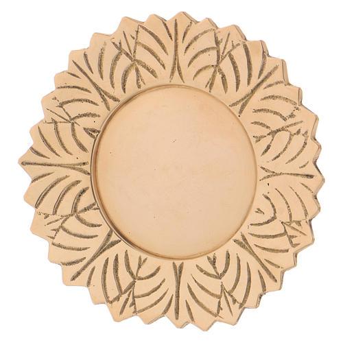 Assiette laiton doré fleur décorations feuille diam. 10 cm 2