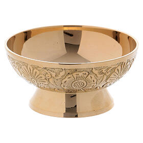 Gold plated brass bowl for incense with decorations s2