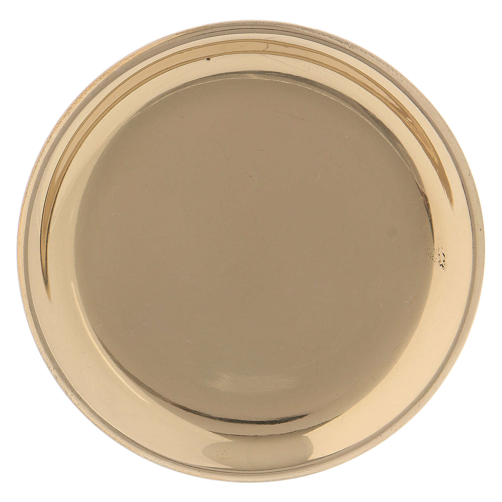 Golden brass round saucer 10 cm 3