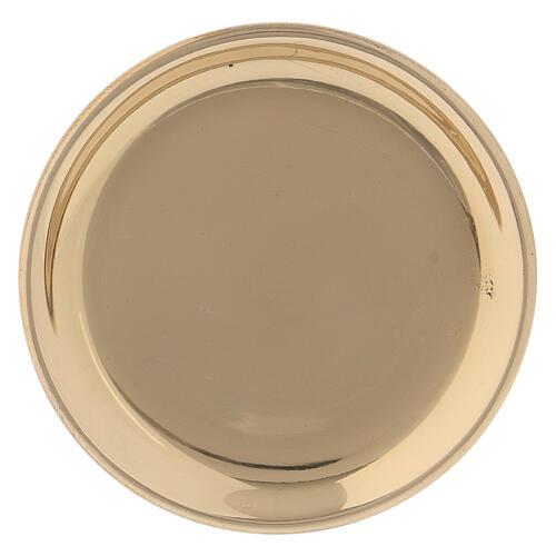 Golden brass round saucer 10 cm 1