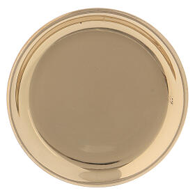 Gold plated brass round plate 4 in s1