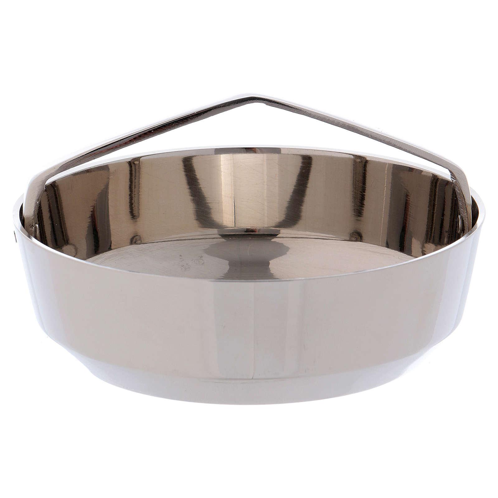 Bol porte-encens avec manche laiton argenté 10 cm 3