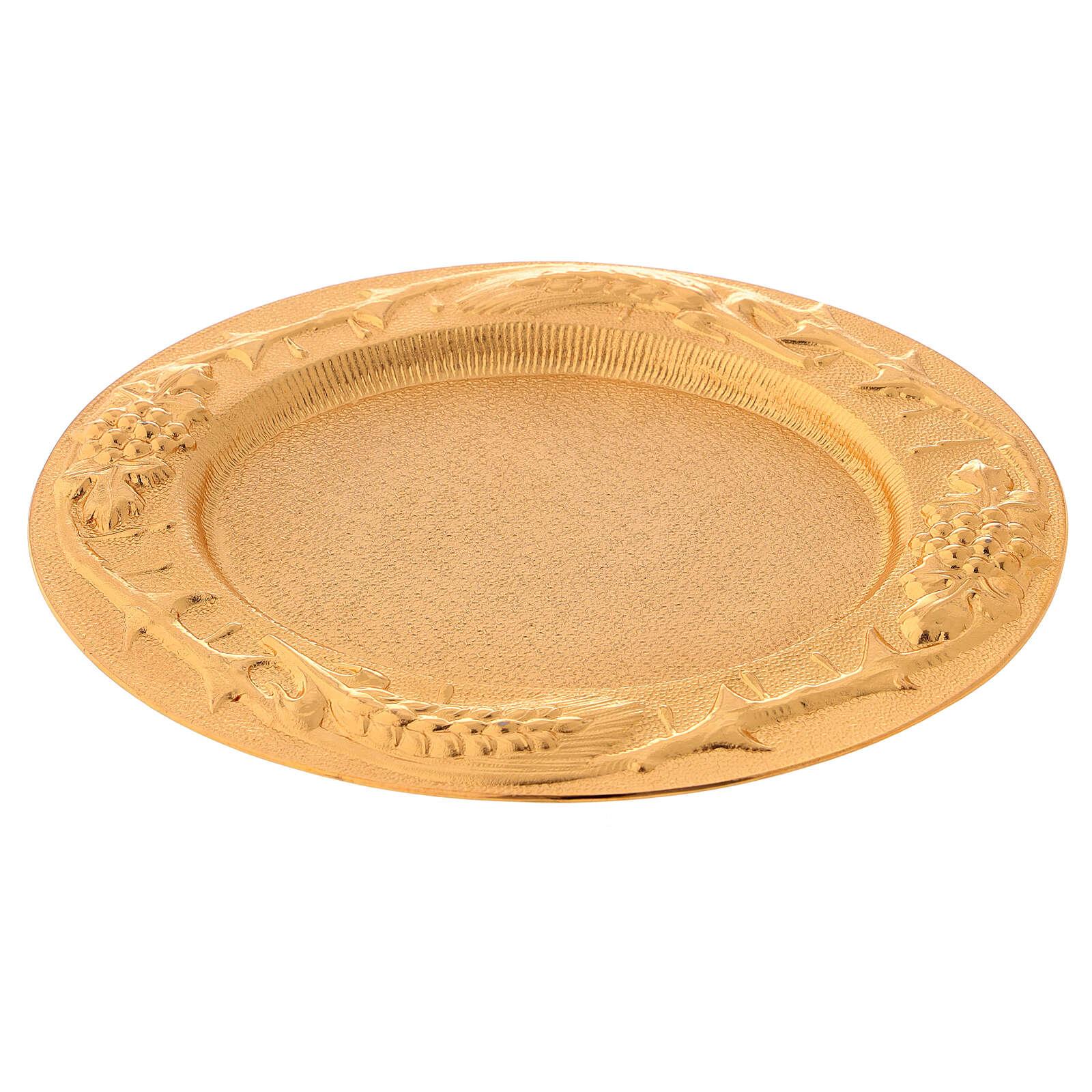 Plato comunión dorado de latón fundido 17x15 cm 3