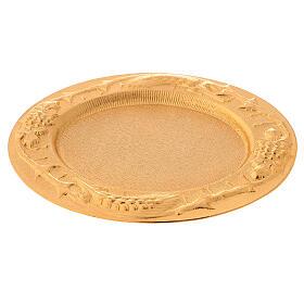 Plato comunión dorado de latón fundido 17x15 cm s3