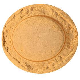 Plato comunión dorado de latón fundido 17x15 cm s4