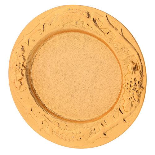 Plato comunión dorado de latón fundido 17x15 cm 1