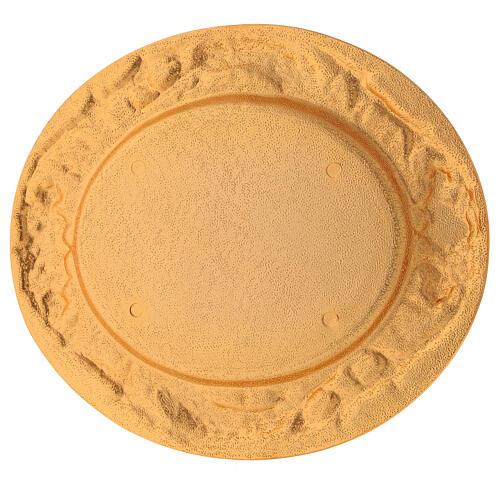 Plato comunión dorado de latón fundido 17x15 cm 4