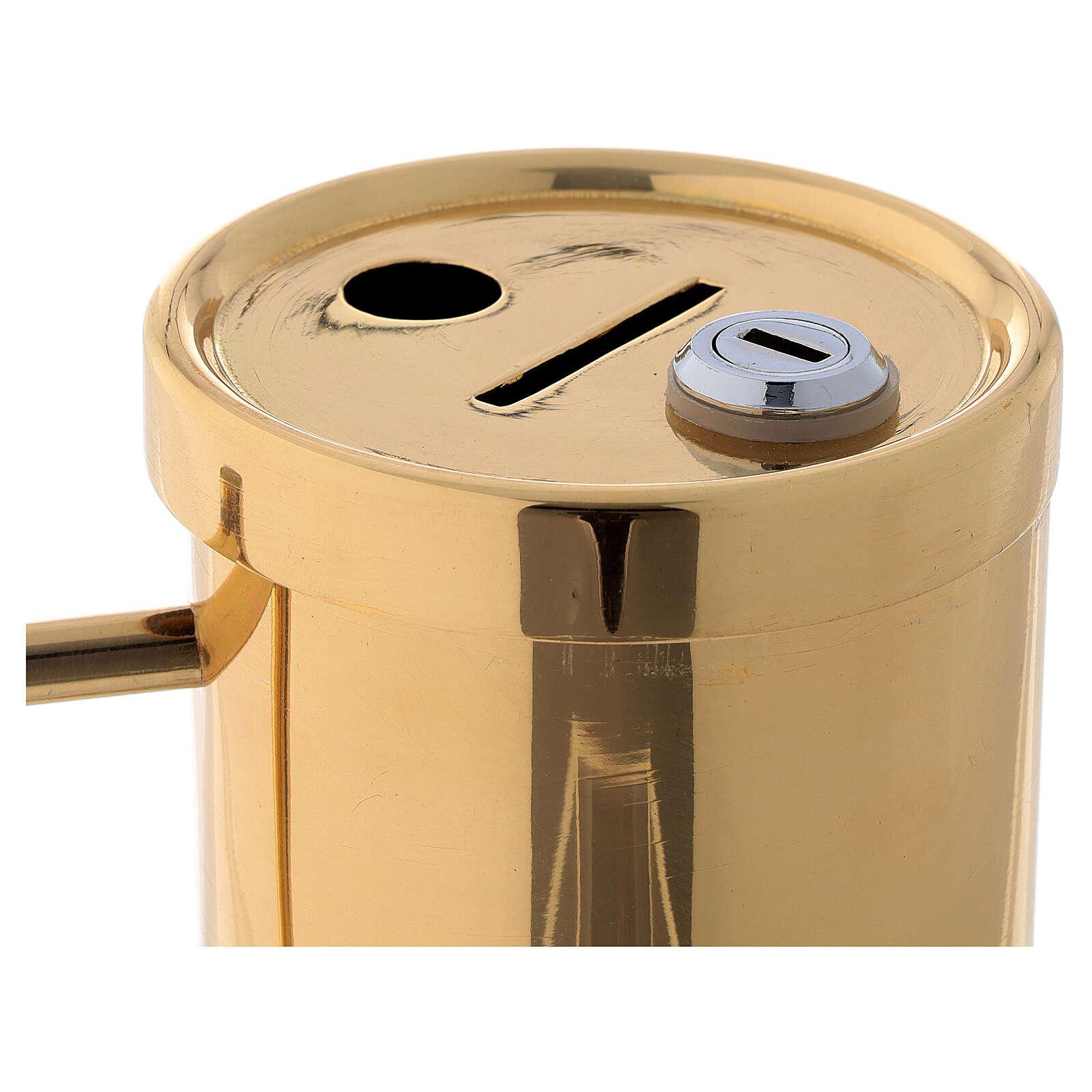 Contenitore offertoriale ottone dorato 15 cm 3