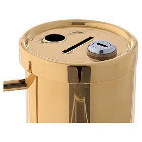 Contenitore offertoriale ottone dorato 15 cm s2