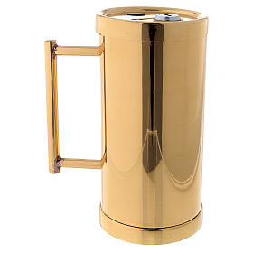 Contenitore offertoriale ottone dorato 15 cm s3