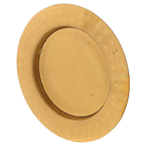 Golden satin brass saucer 10 cm 2