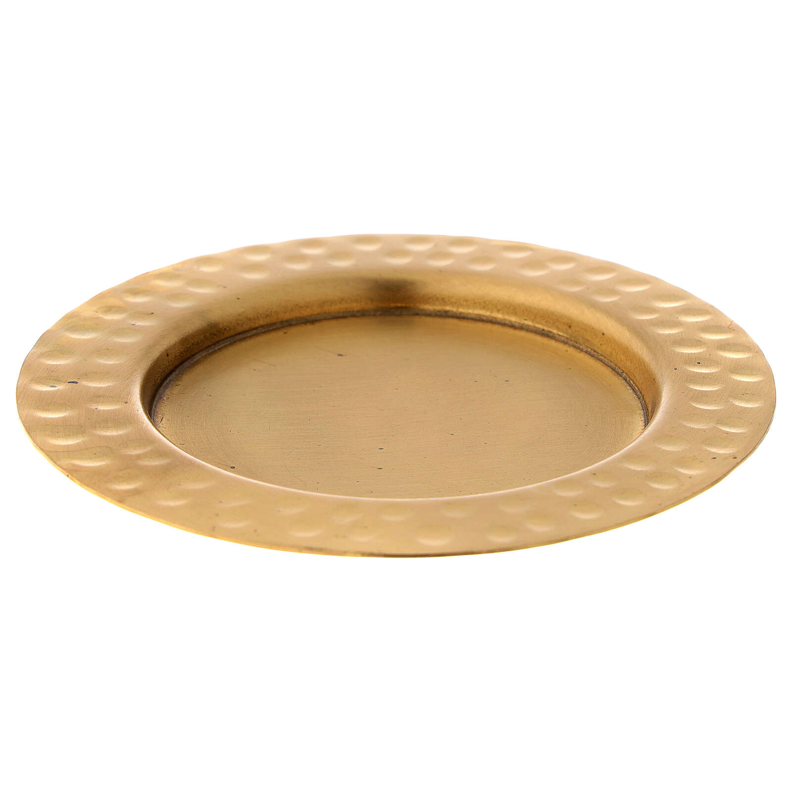 Candle holder plate in gold plated brass with satin finish 4 in 3