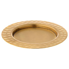 Candle holder plate in gold plated brass with satin finish 4 in s1