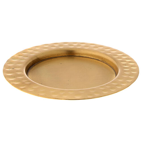 Candle holder plate in gold plated brass with satin finish 4 in 1