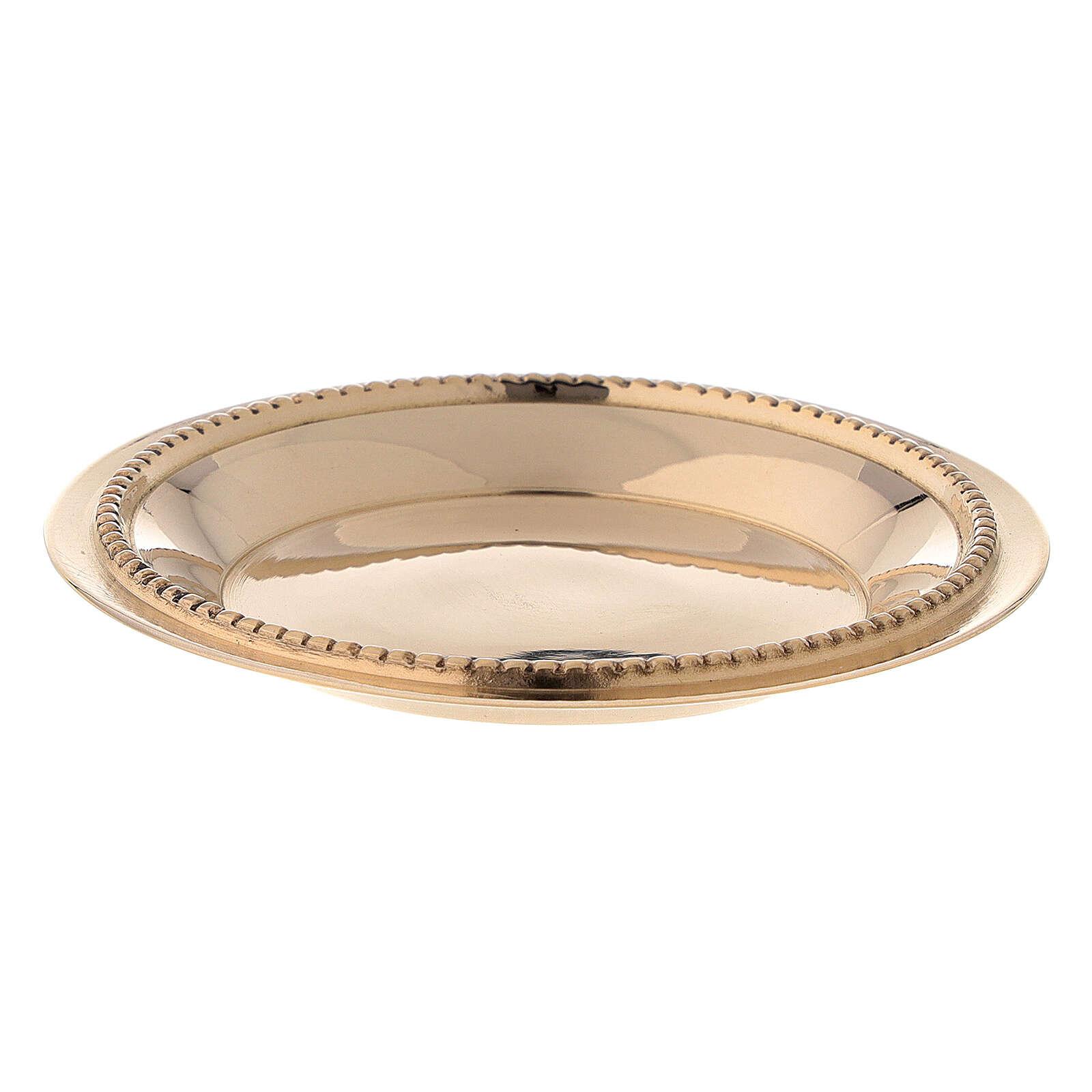 Satin-finish golden brass saucer 7 cm 3