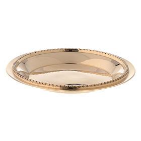 Satin-finish golden brass saucer 7 cm s1