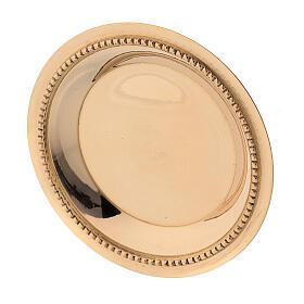 Satin-finish golden brass saucer 7 cm s3
