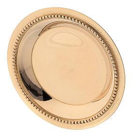 Satin-finish golden brass saucer 7 cm s2