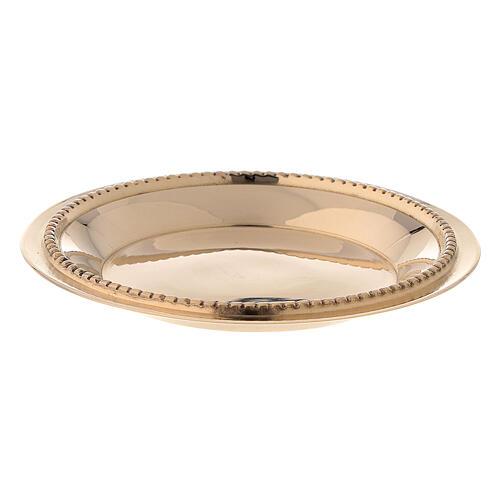 Satin-finish golden brass saucer 7 cm 1
