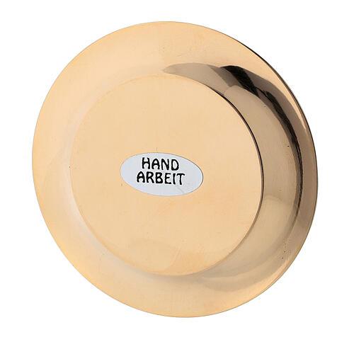 Satin-finish golden brass saucer 7 cm 4