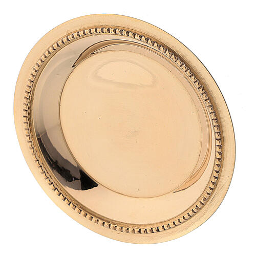 Satin-finish golden brass saucer 7 cm 2