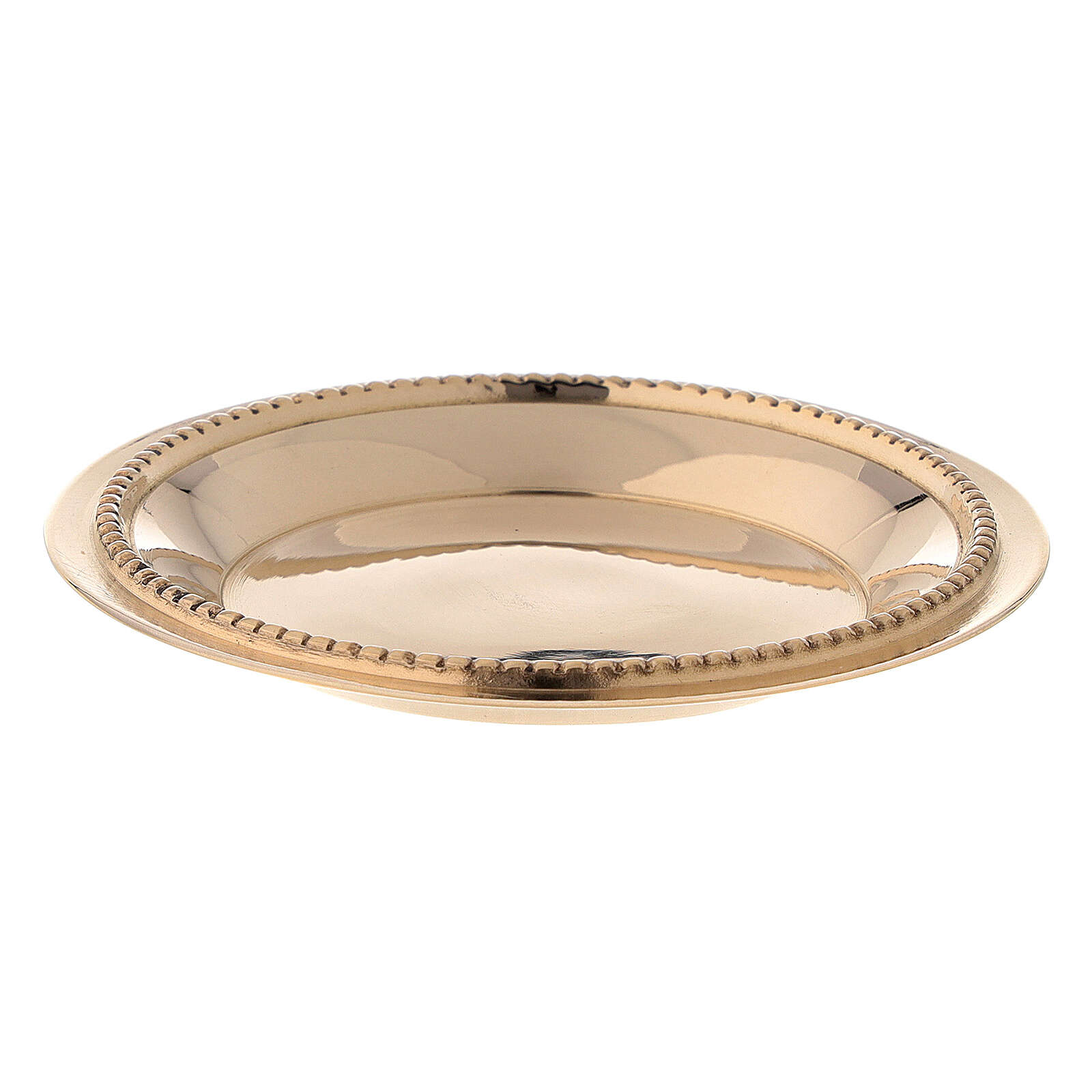Candle holder plate in gold plated brass with satin finish 3 in 3