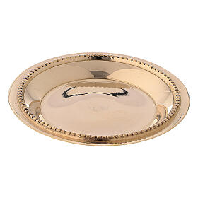 Candle holder plate in gold plated brass with satin finish 3 in s1