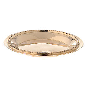 Candle holder plate in gold plated brass with satin finish 3 in s3