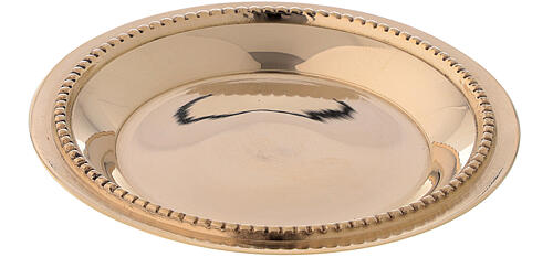 Candle holder plate in gold plated brass with satin finish 3 in 2