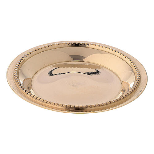 Candle holder plate in gold plated brass with satin finish 3 in 1