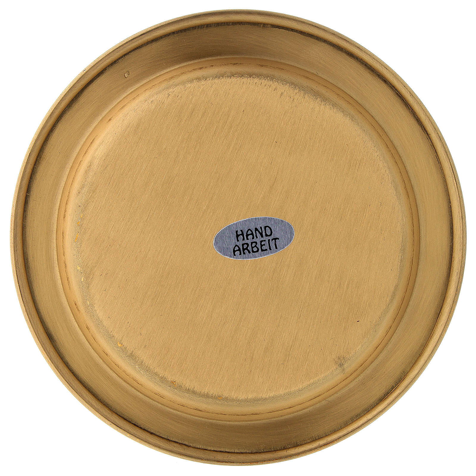Saucer for candle golden satin brass 12 cm 3