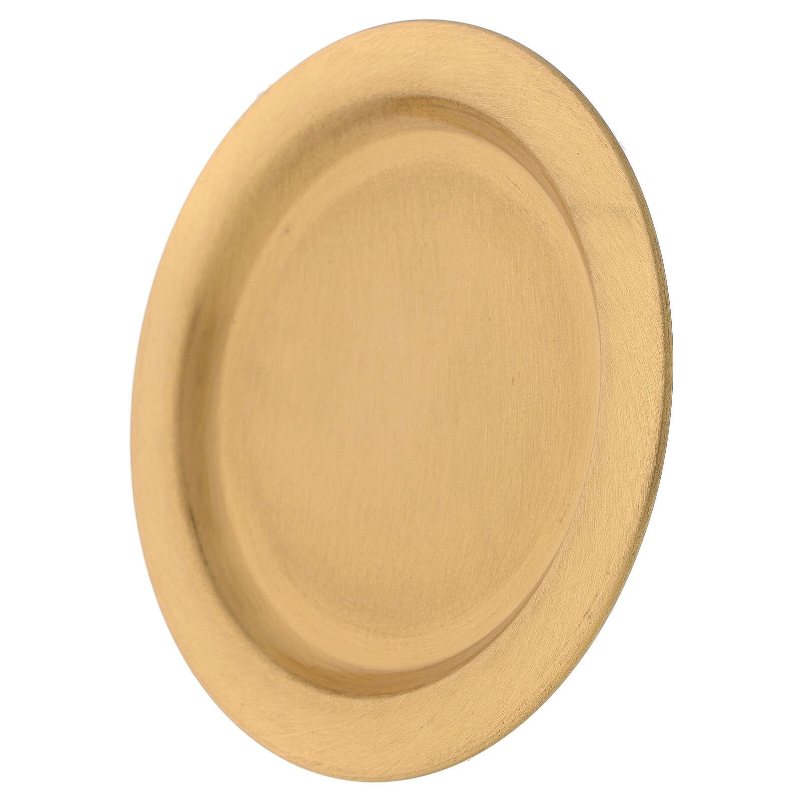 Assiette pour bougie laiton satiné doré 12 cm 3