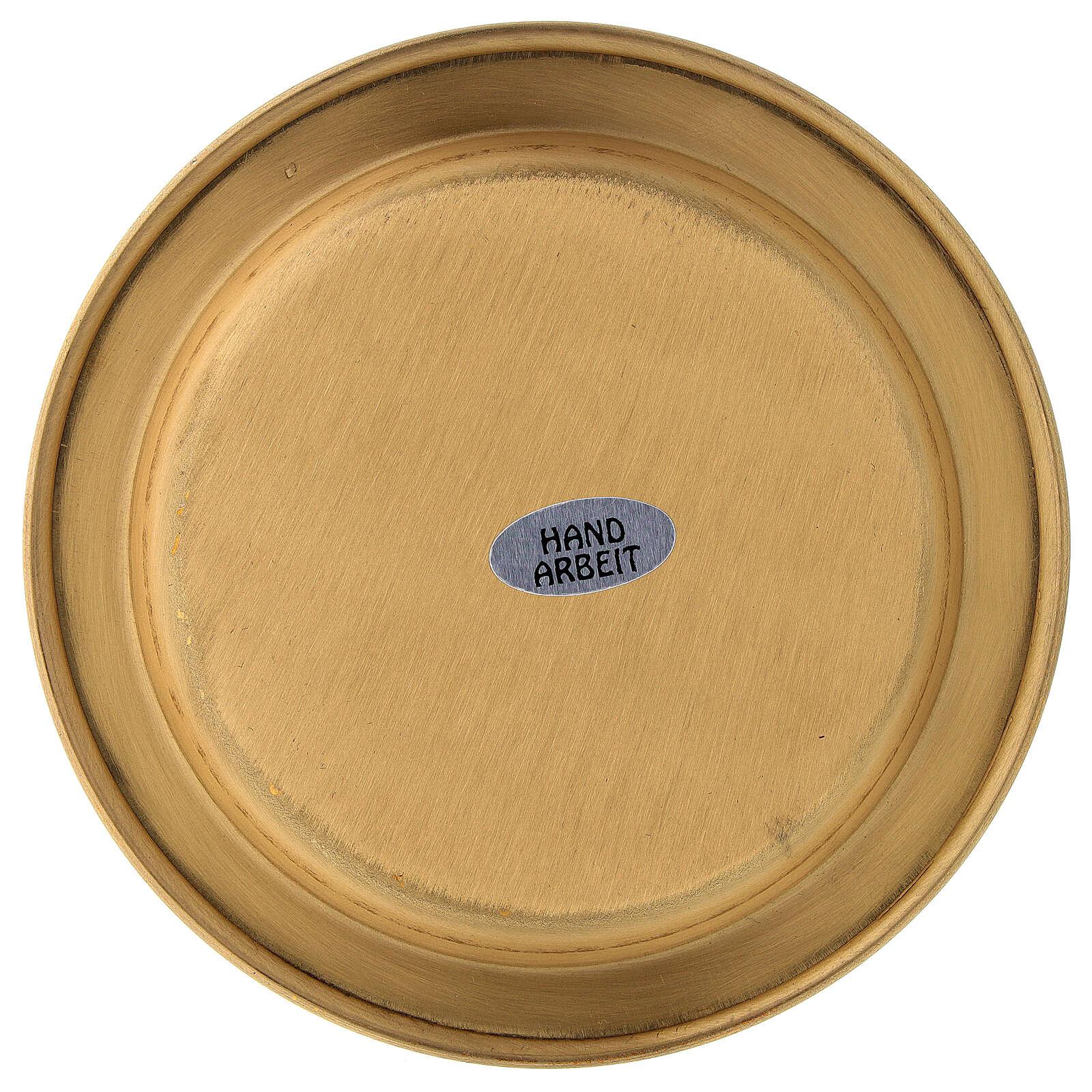Piattino per candela ottone satinato dorato 12 cm 3