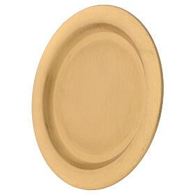 Prato para vela latão acetinado dourado 12 cm s2