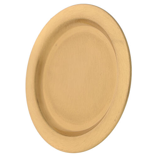 Candle holder plate in gold plated brass with satin finish 4 3/4 in 2