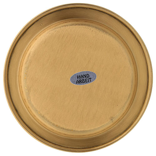 Candle holder plate in gold plated brass with satin finish 4 3/4 in 3