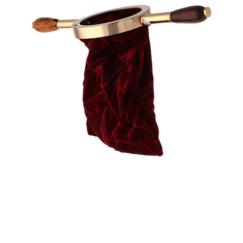 Velvet offering bag with wood handle 3