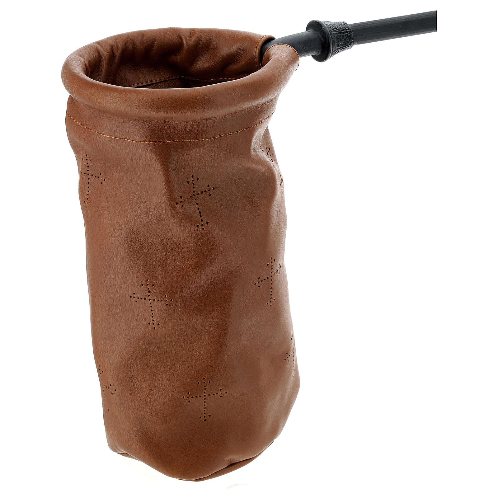 Sac pour offrandes en cuir marron 3