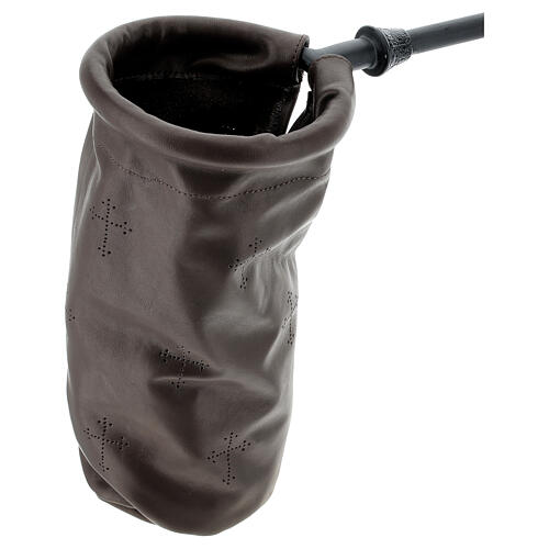 Dark brown leather offering bag 2