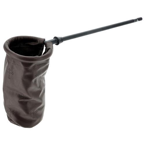 Dark brown leather offering bag 3