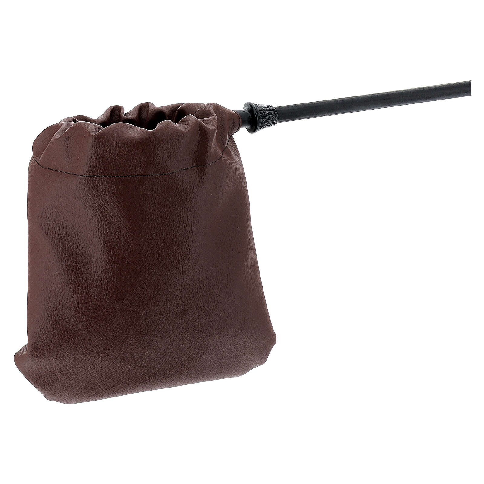 Brown leatherette alms bag 3