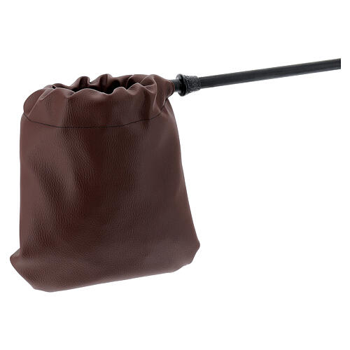 Brown leatherette alms bag 2