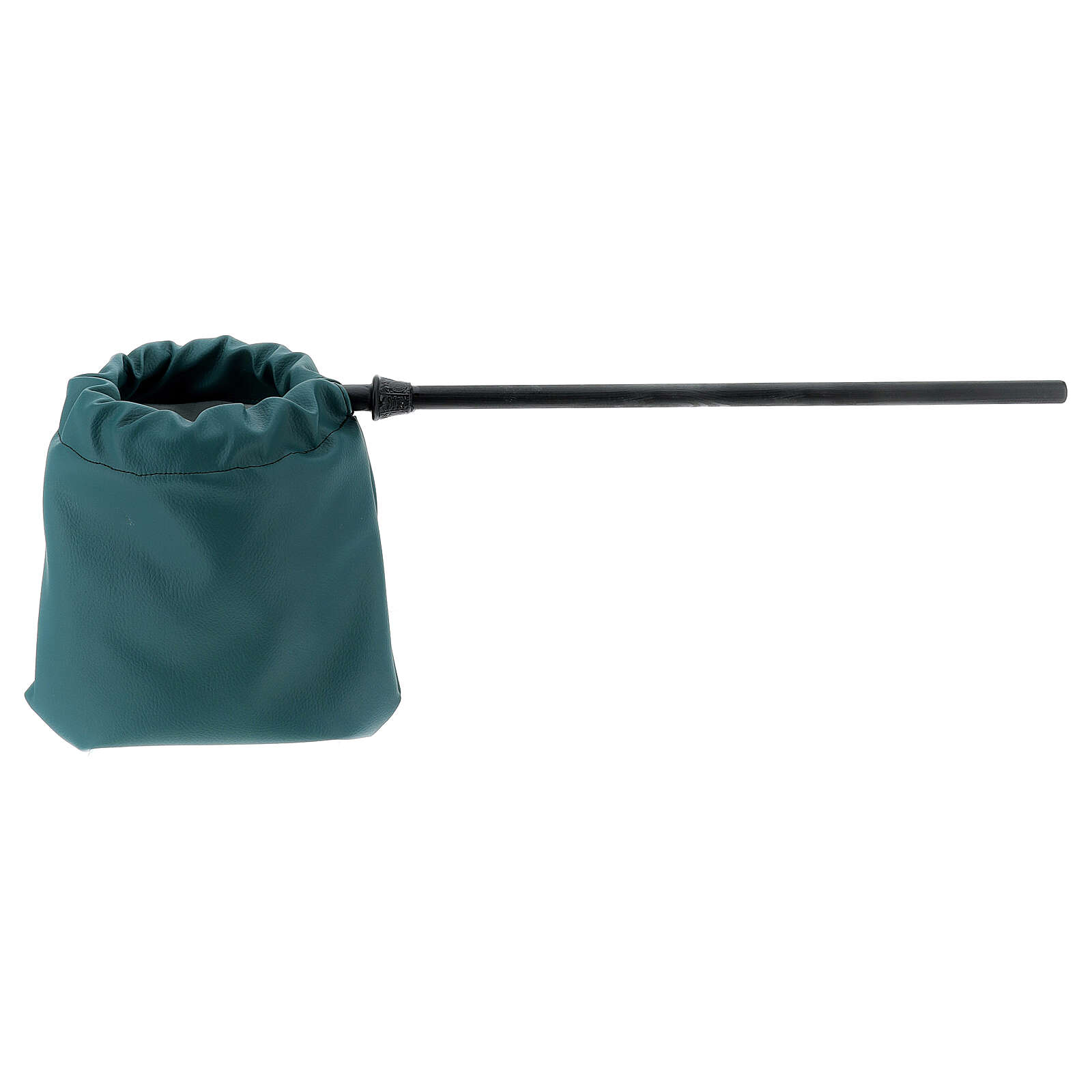 Green faux leatherette bag for alms 3
