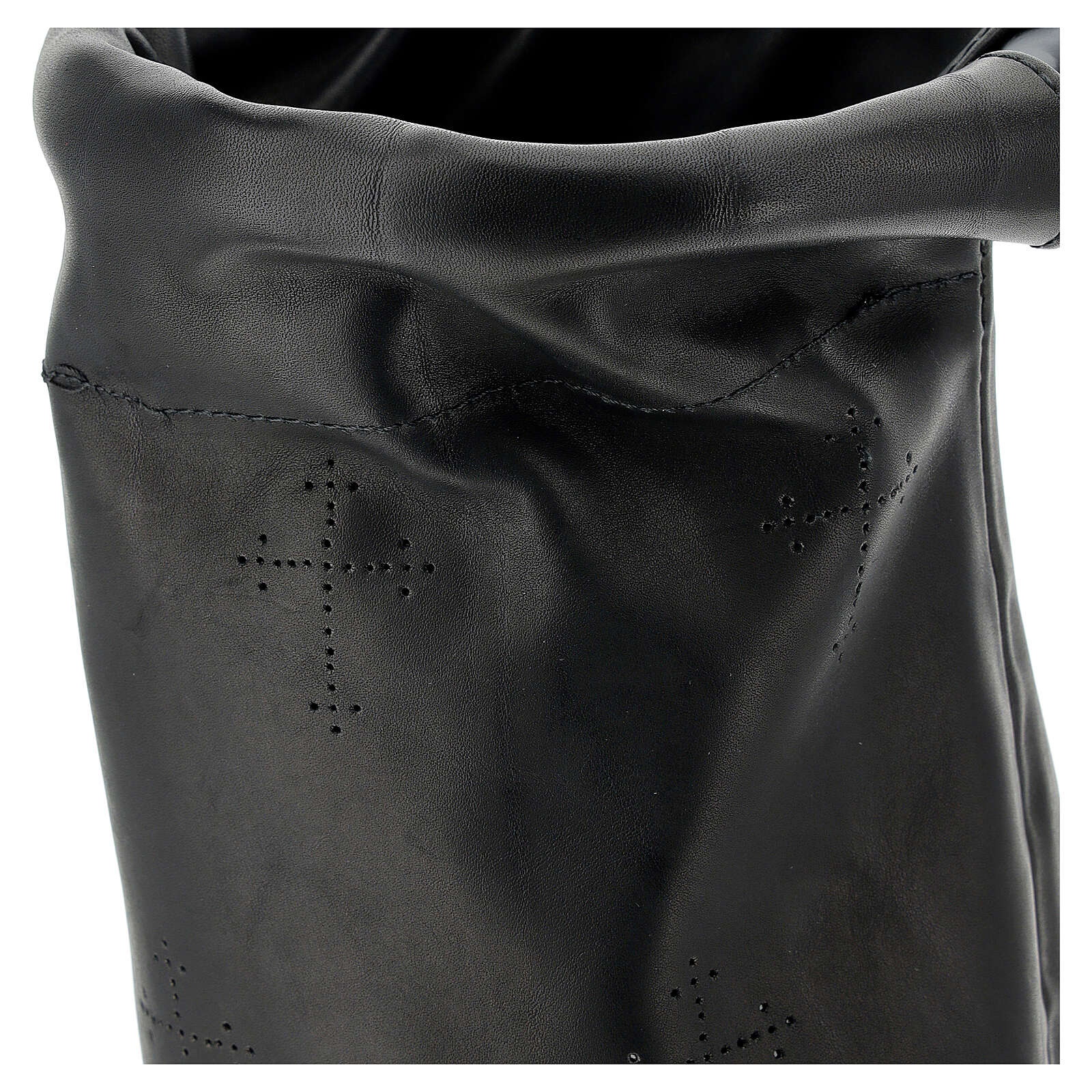 Black leather bag for the collection of alms 3