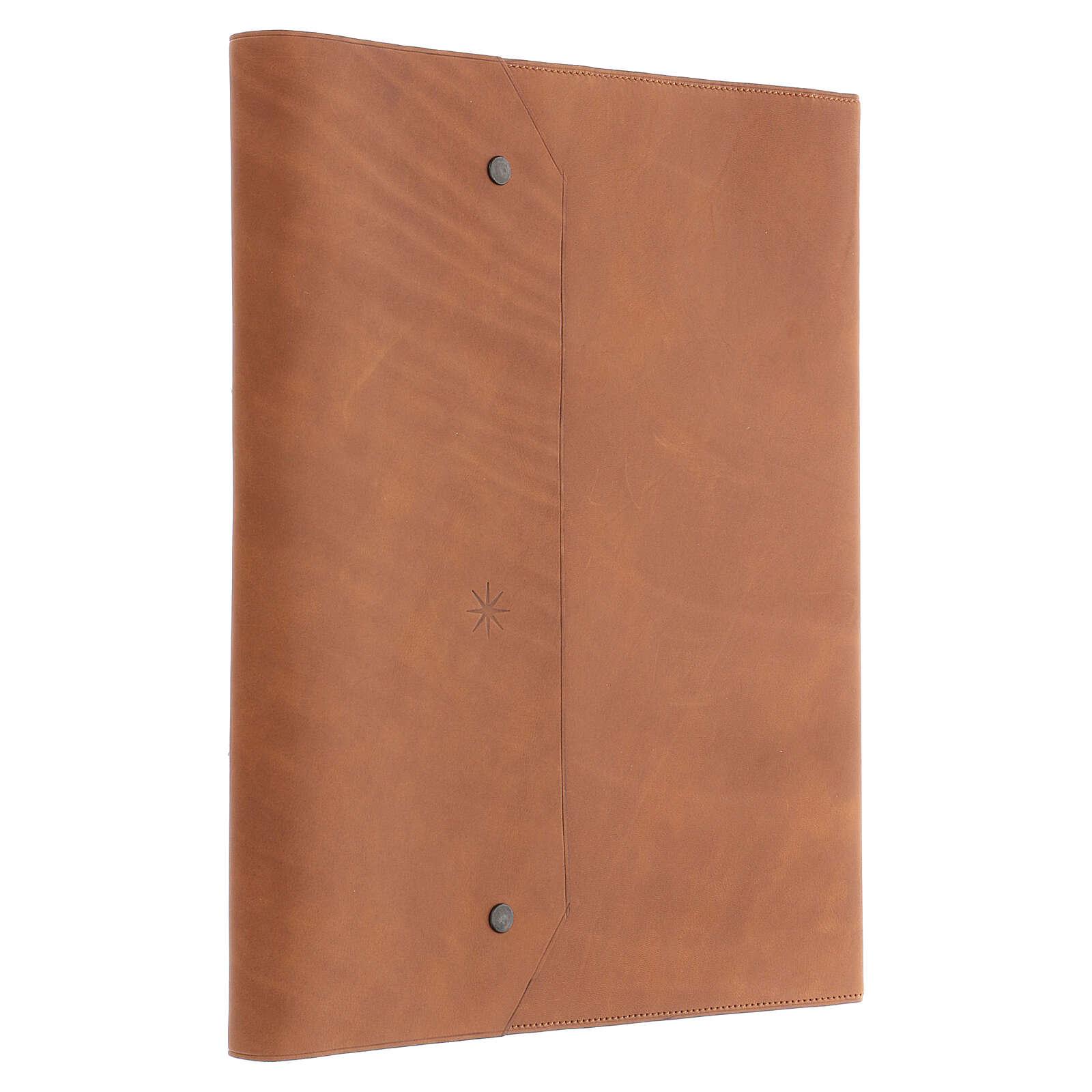 Calepin couverture cuir véritable marron étoile moins Bethléem 30x25x2 cm 3