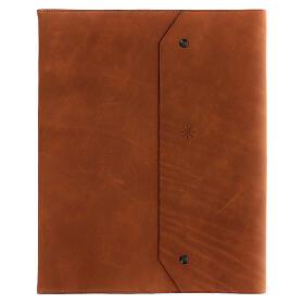 Calepin couverture cuir véritable marron étoile moins Bethléem 30x25x2 cm s1